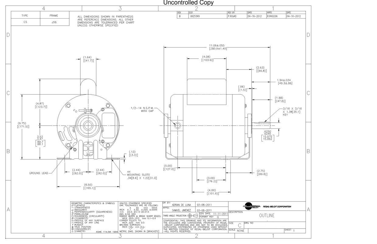 GE Mars/Century- C159 Replacement Electric Motor on